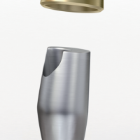 Fig. 3a : représentation schématique du système coiffes télescopiques Atlantis Conus Concept® : Pilier Conus® en bas et sa coiffe télescopique en haut